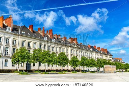 Cours Saint-Andre, a public promenade in Nantes city - France, Loire-Atlantique
