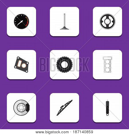 Flat Auto Set Of Tachometr, Wheel, Metal And Other Vector Objects. Also Includes Absorber, Packing, Segment Elements.