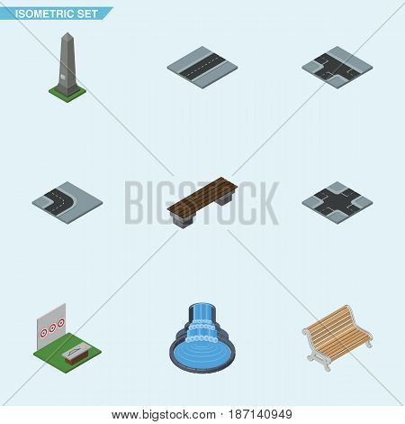 Isometric Street Set Of Seat, Aiming Game, Dc Memorial And Other Vector Objects. Also Includes Intersection, Bench, Game Elements.