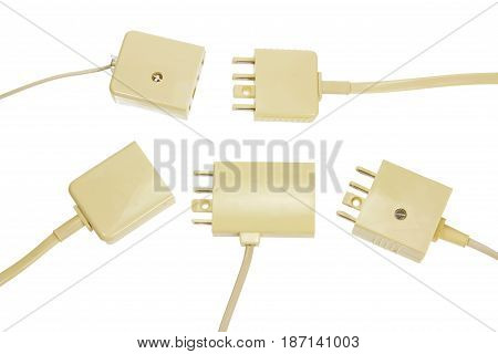Phone Plugs and Sockets on White Background