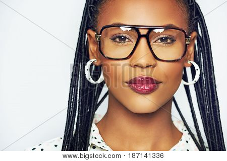 African-american Female Model In Glasses