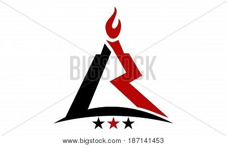 This image describe about Modern Logo Solution Letter L R Fire