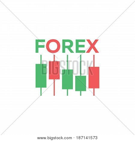 Logo Candlestick Trading Chart Analyzing In Forex Stock Market.