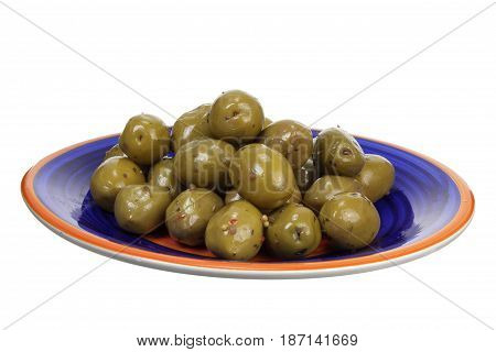 Green Olives on Plate with White Background