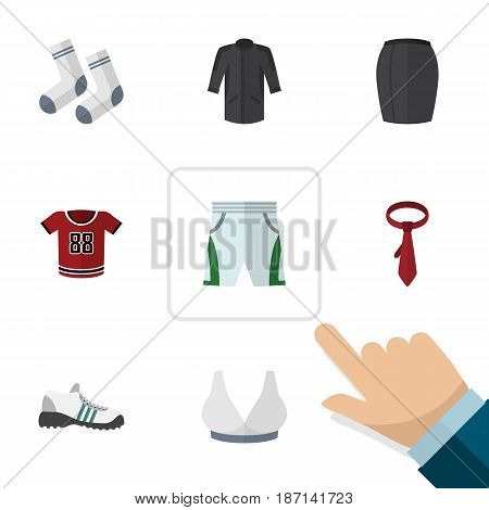 Flat Dress Set Of Cravat, Brasserie, Stylish Apparel And Other Vector Objects. Also Includes Woman, Blouse, Breast Elements.