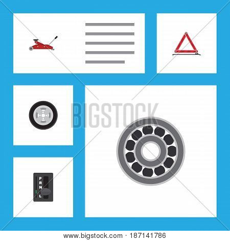Flat Service Set Of Warning, Automatic Transmission, Brake Disk And Other Vector Objects. Also Includes Stop, Transmission, Lifting Elements.