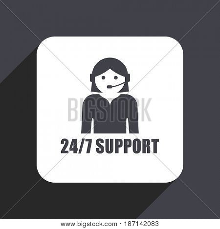 24/7 support flat design web icon isolated on gray background