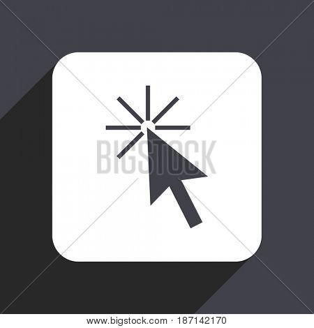 Click here flat design web icon isolated on gray background