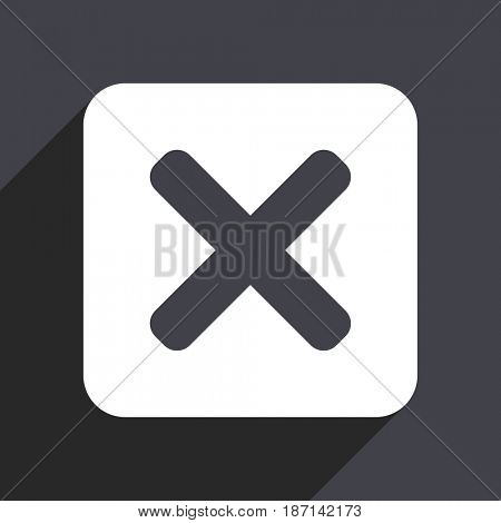 Cancel flat design web icon isolated on gray background