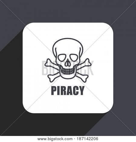 Piracy skull flat design web icon isolated on gray background