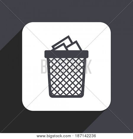 Trash can flat design web icon isolated on gray background