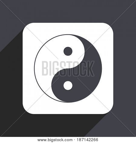 Ying yang flat design web icon isolated on gray background