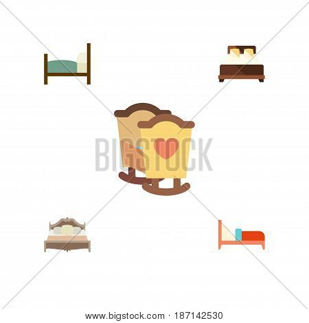 Flat Mattress Set Of Mattress, Bedroom, Crib And Other Vector Objects. Also Includes Bed, Bearings, Crib Elements.