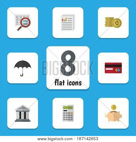 Flat Exchequer Set Of Document, Parasol, Money Box And Other Vector Objects. Also Includes Beach, File, Calculator Elements.