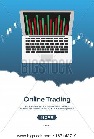 Poster Forex Trading. Forex Online, Online Trading. Stock Market Analysis, Finance. Flat Style Illus