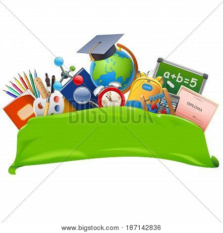 Vector School Banner isolated on white background