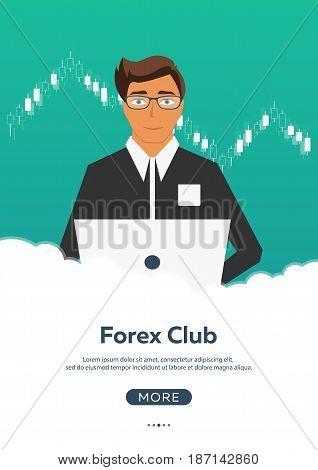 Poster Forex Trading. Forex Online, Online Trading. Stock Market Analysis, Finance. Flat Style Illus