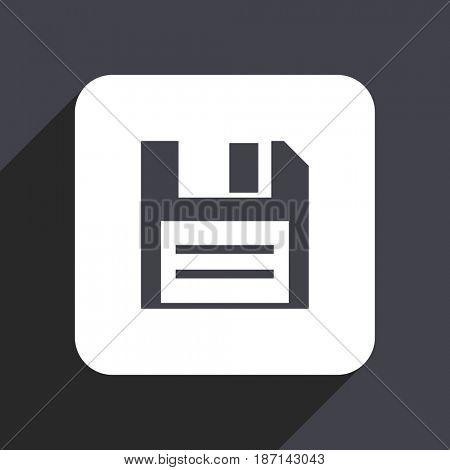 Disk flat design web icon isolated on gray background