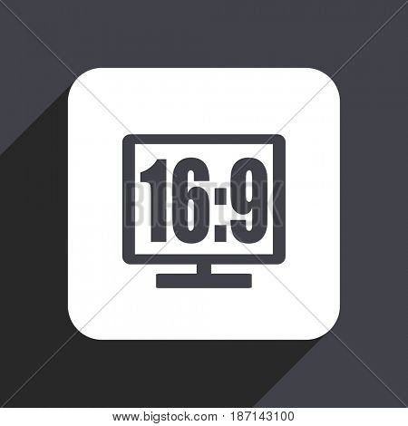 16 9 display flat design web icon isolated on gray background