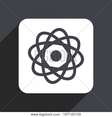 Atom flat design web icon isolated on gray background