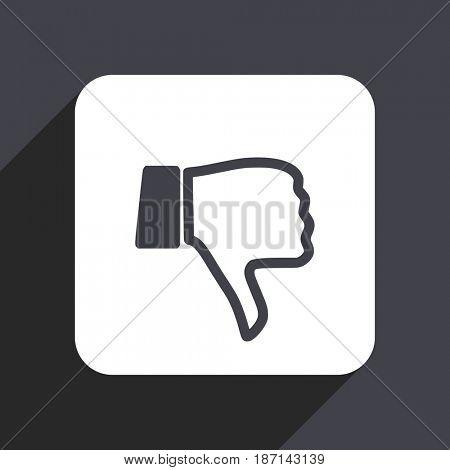 Dislike flat design web icon isolated on gray background