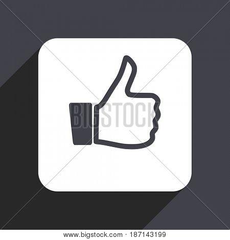 Like flat design web icon isolated on gray background