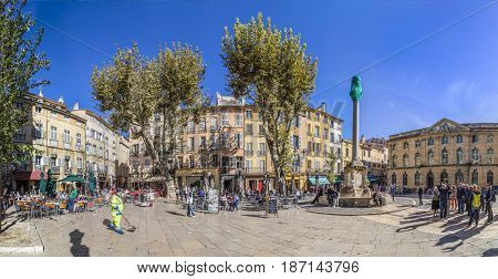 People Visit The Central Market Place With The Famous Hotel De Ville In Aix En Provence, France.