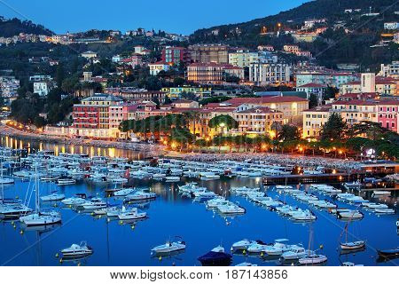 Lerici In Summer Night, Liguria Region, Italy.