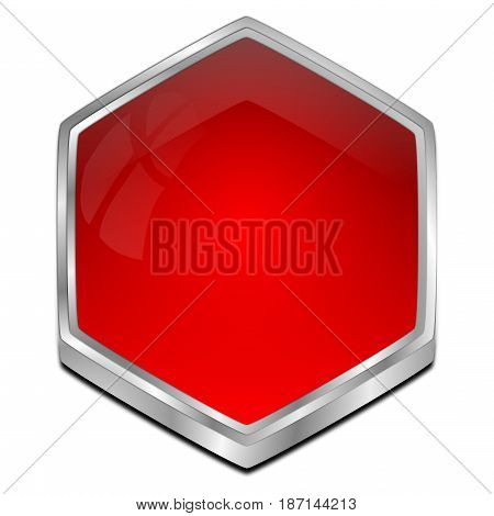 glossy red blank Button - 3D illustration