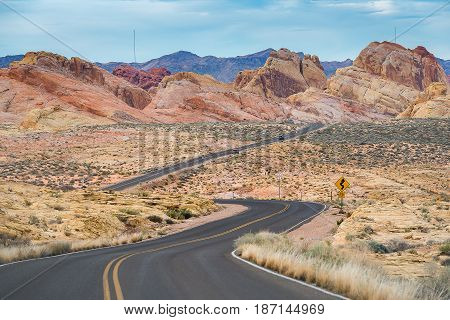 Road To Sandstone Mountain In Valley Of Fire