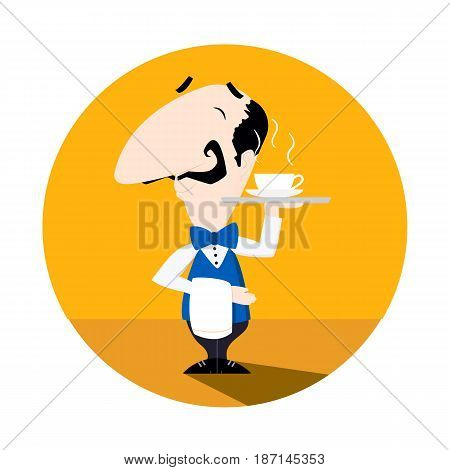 Waiter serving a cup of hot coffee or tea flat vector illustration fun cartoon style EPS10