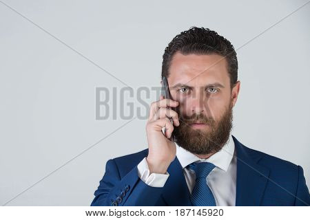 Bearded Man Or Businessman With Mobile Or Cell Phone