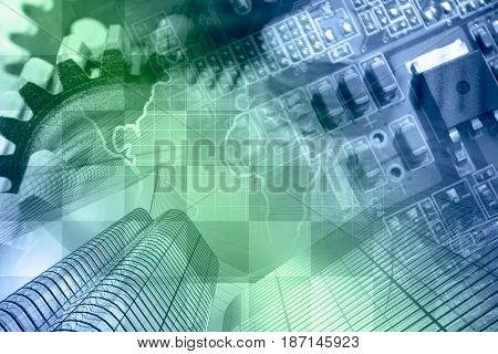 Business background with map electronic device and buildings in greens and blues.