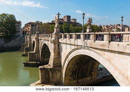 ROME, ITALY - 13.04.2017:Ponte Vittorio Emanuele II is a bridge across the Tiber in Rome Italy