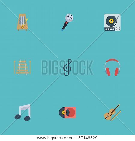 Flat Retro Disc, Karaoke, Quaver And Other Vector Elements. Set Of Audio Flat Symbols Also Includes Orchestra, Fiddle, Turntable Objects.