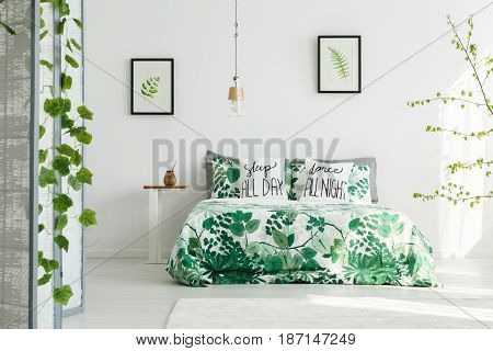 Botanical Bedroom With White Wall