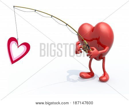 Heart With Arms, Legs, Fishing Pole On Hand Fishing A Heart Symbo