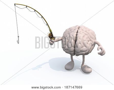 Human Brain With Arms And Legs And Fishing Pole On Hand