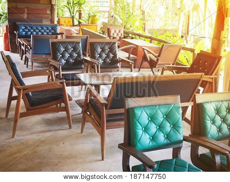 Set of vintage old wooden chairs with cushion