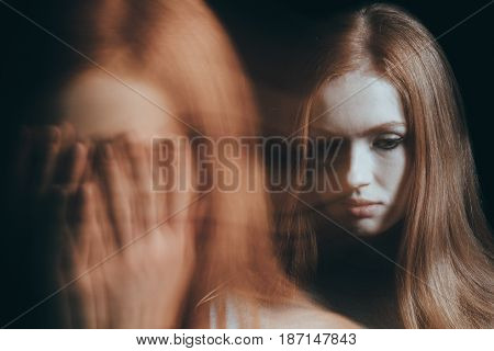 Stressed Woman Covering Face