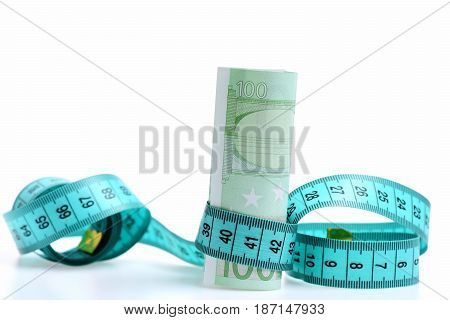 Beauty Requires Sacrifice Concept, Measuring Tape With Euro
