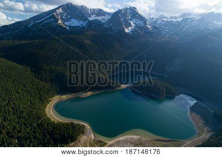 aerial view of Black Lake near Durmitor mountain in Montenegro