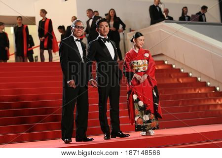 Takashi Miike, Takuya Kimura and Hana Sugisaki attend the 'Blade Of The Immortal (Mugen No Junin)' premiere during the 70th Cannes Film Festival at Palais on May 18, 2017 in Cannes, France.