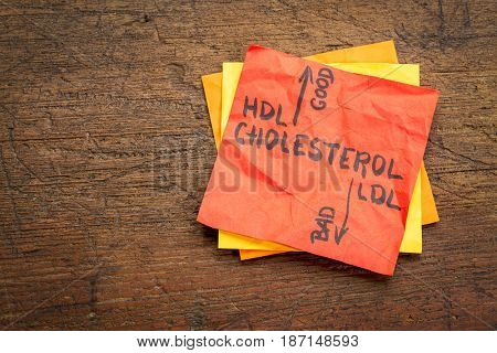 HDL (good) and LDL(bad) cholesterol word abstract in vintage letterpress concept on a sticky note
