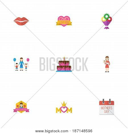 Happy Mother's Day Flat Layout Design With Flower, Best Mother Ever And Pastry Symbols. Lovely Mom Beautiful Feminine Design For Social, Web And Print.