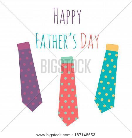 Happy Fathers Day Greeting Banner With Necktie. Vector
