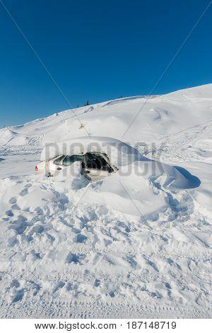 Car Struck In Snow, Alaska Usa