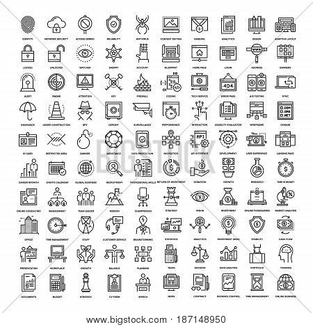 Vector set of 150 flat line web icons on following themes - corporate business, security and protection, web design and development, analytics and investment