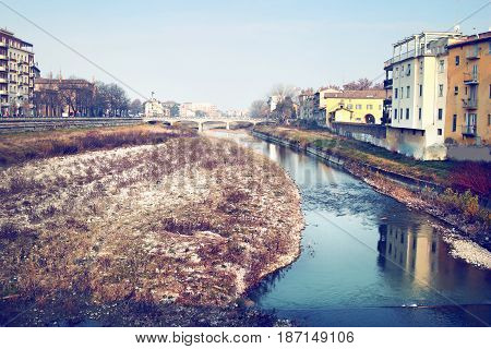 View Parma river flowing in Parma Emilia Romagna province Italy.