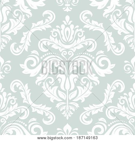 Damask classic white pattern. Seamless abstract background with repeating elements. Orient background